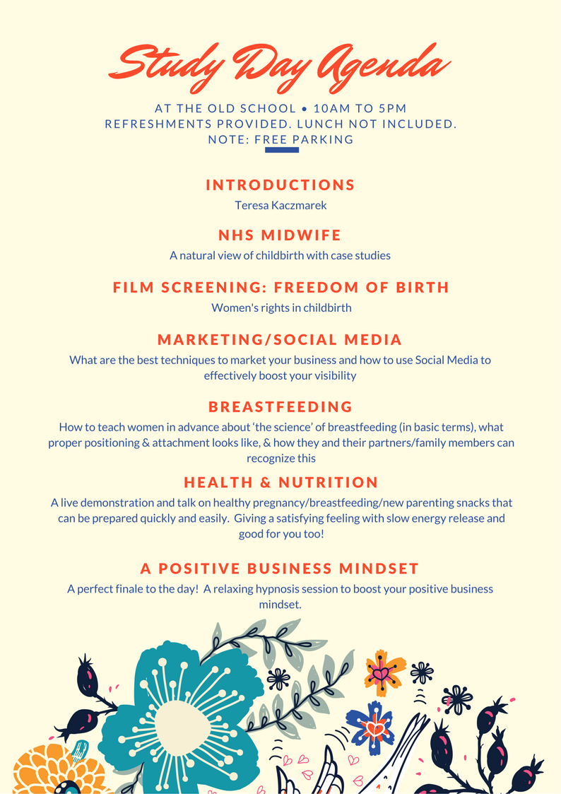 Agenda for Study Day 23 Sep 2017