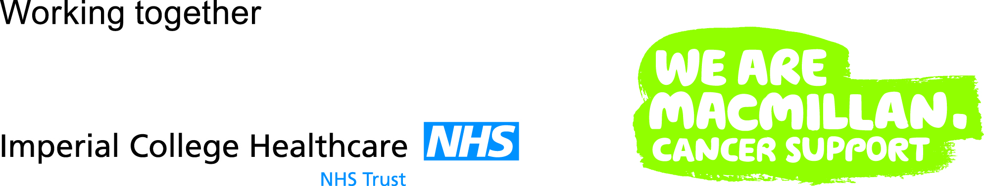 Logo showing imperial college healthcare NHS Trust and Macmillan Cancer Support working together.