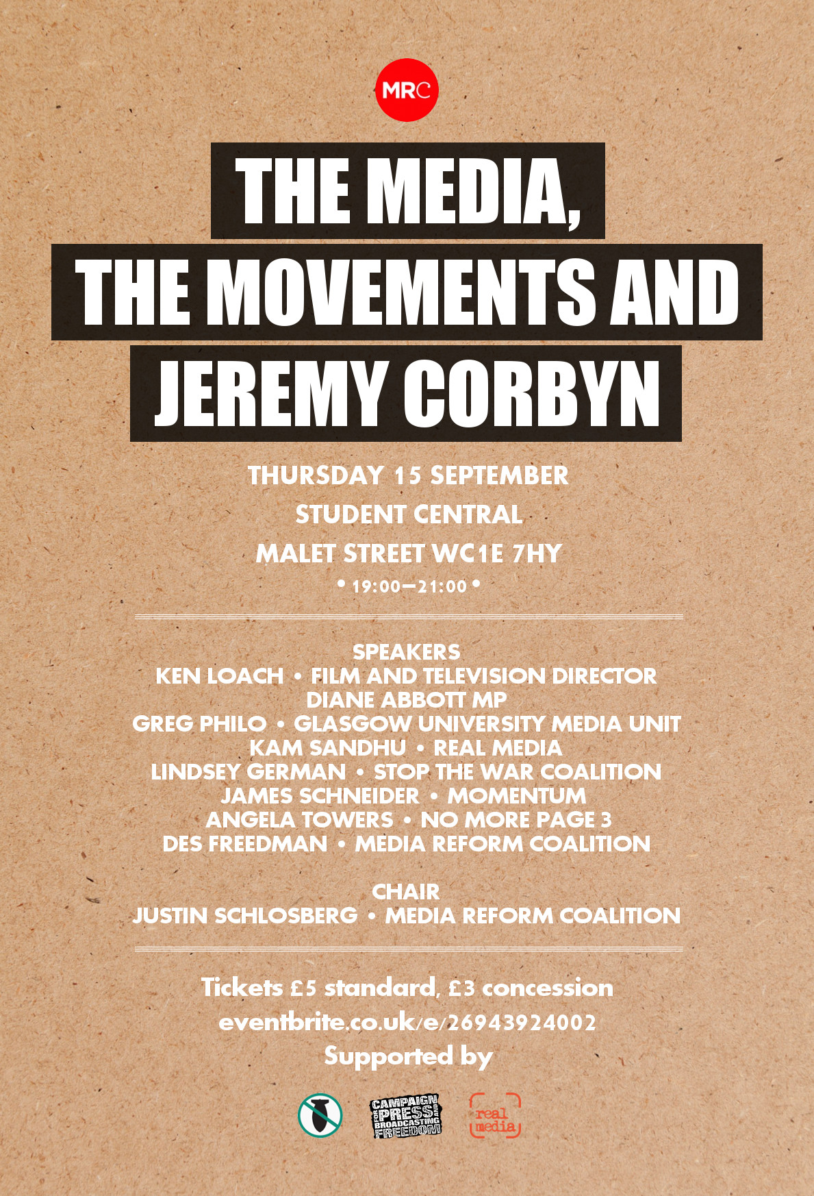 The media, the movements and Jeremy Corbyn event flyer
