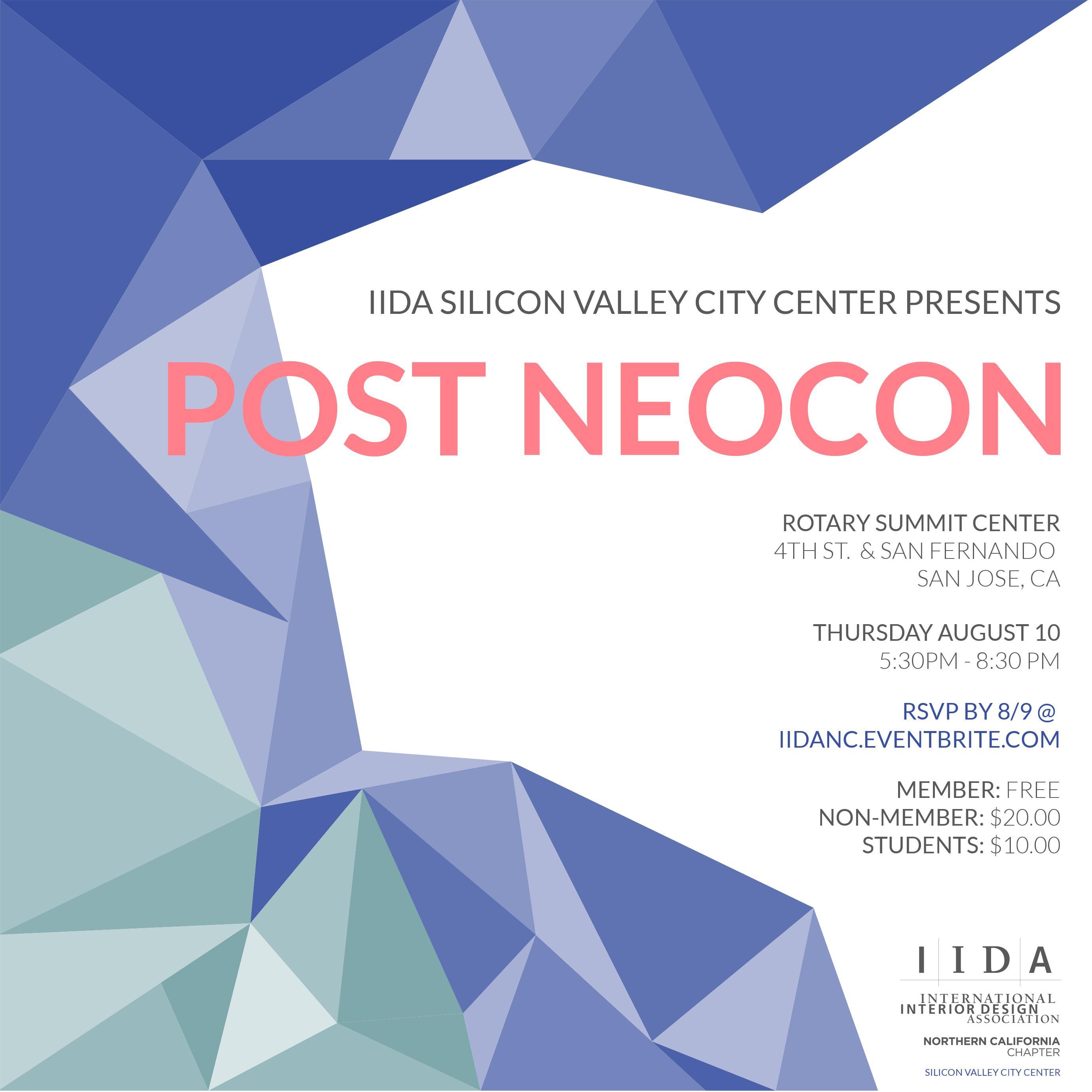 IIDA Silicon Valley Post Neocon Tickets Thu Aug 10 2017 At 530