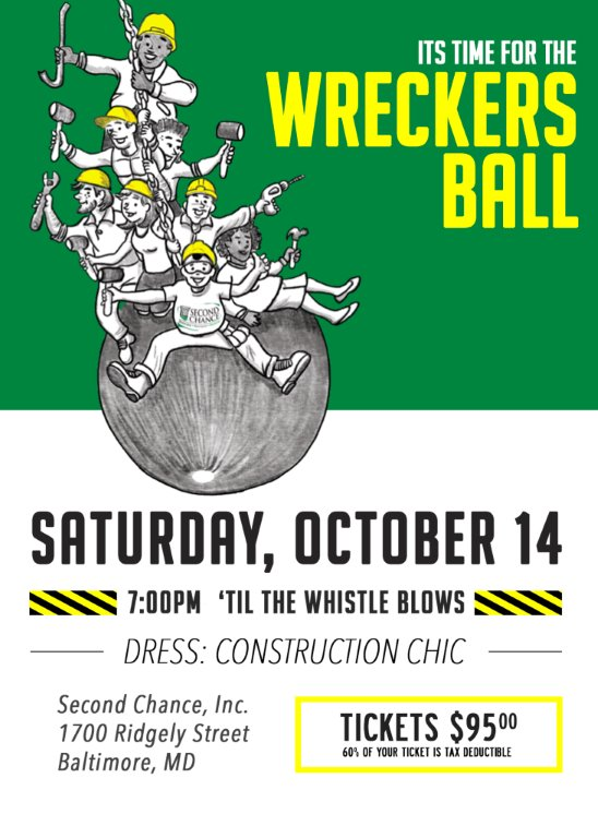Join us  on Saturday October 14 at 7 pm for the Wreckers Ball.