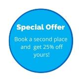 special offer 25% off your booking when a 2nd place booked