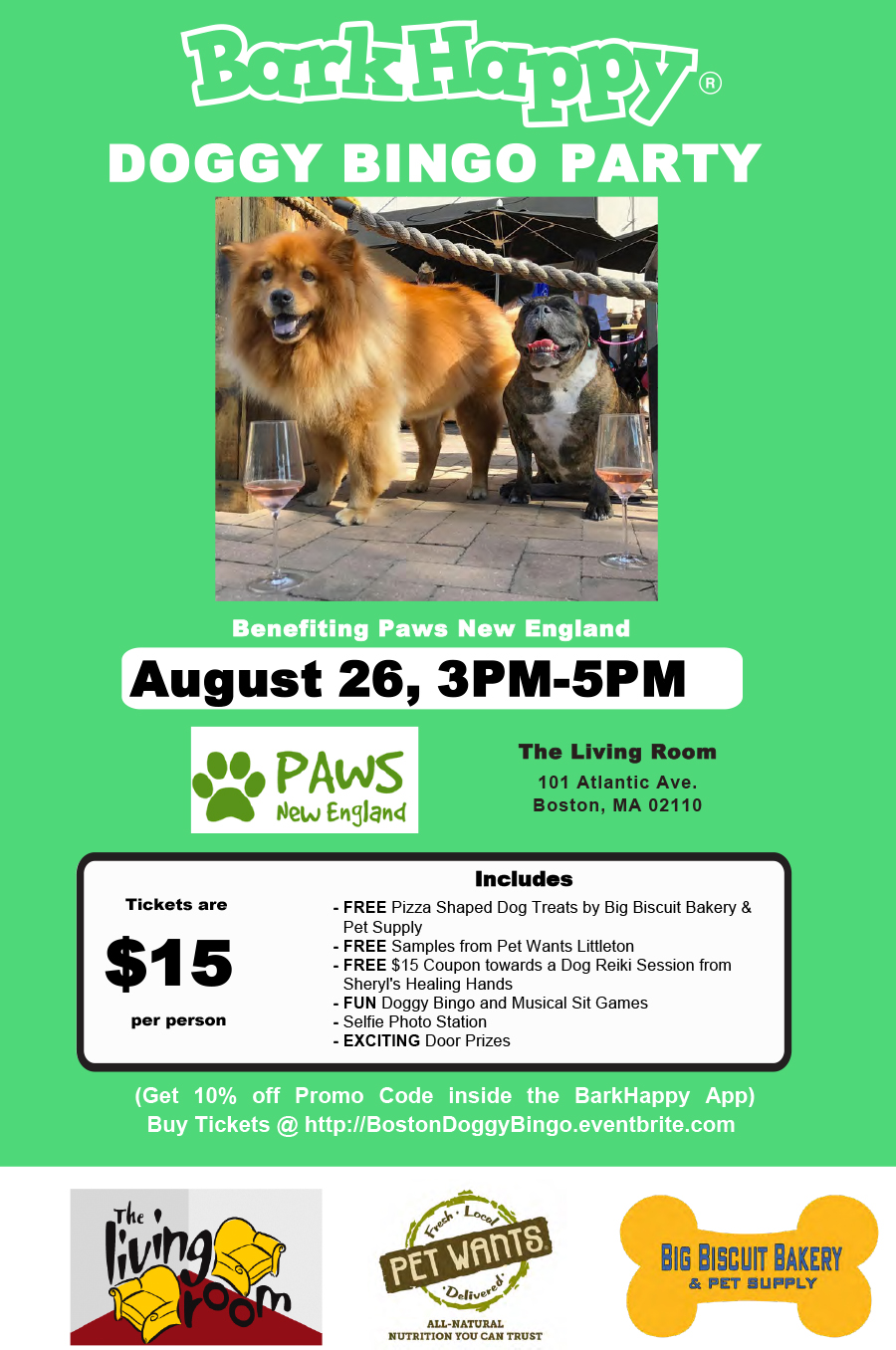 Barkhappy boston doggy bingo party benefiting paws new for Living room 101 atlantic ave boston
