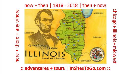 InSites biz card announcing Illinois 200 tours & adventures (incorps vintage Land of Lincoln map)