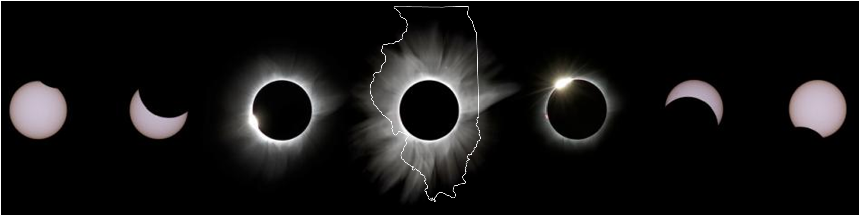 InSites To Go Eclipse Collage (credit J. Ng) overlain with outline map of IL