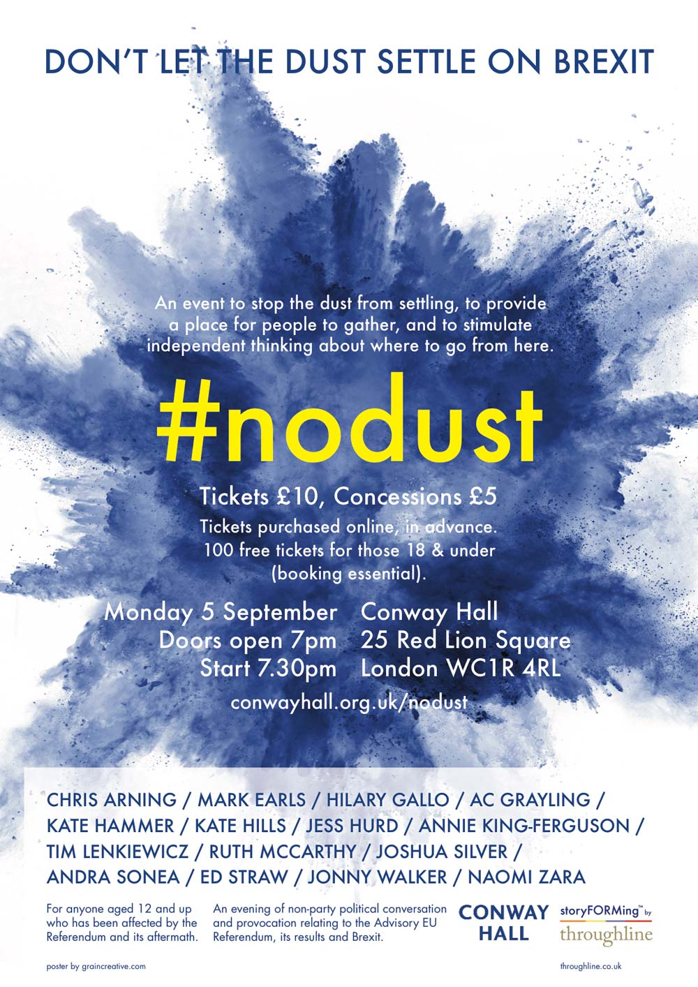 Post for #NoDust on Brexit at Conway Hall with blue cloud of dust being dispersed and list of speakers and artists contributing