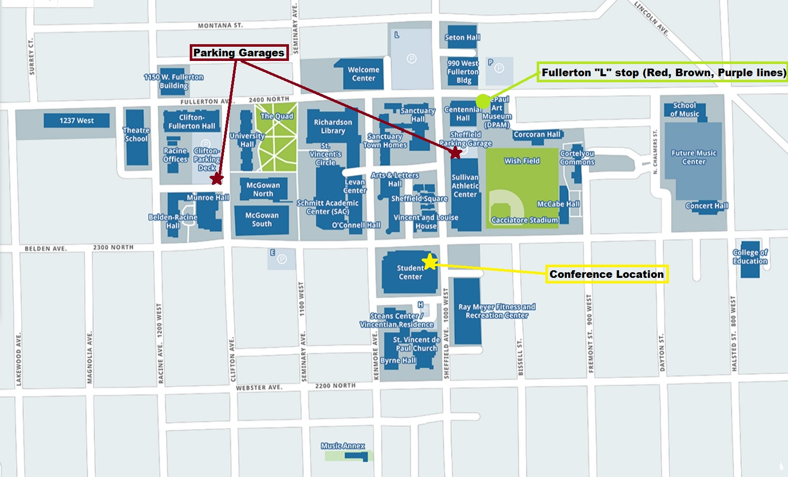 Lincoln Park Campus Map for the Conference 10/22