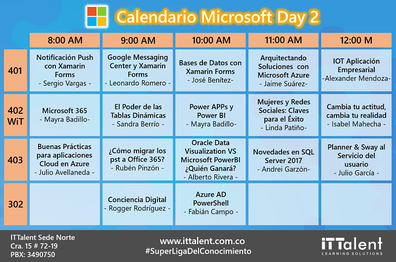 Calendario de Conferencias Microsoft Day 2