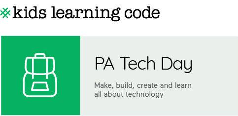 Kids Learning Code. PA Tech Day. Make, Build, Create and learn about technology.