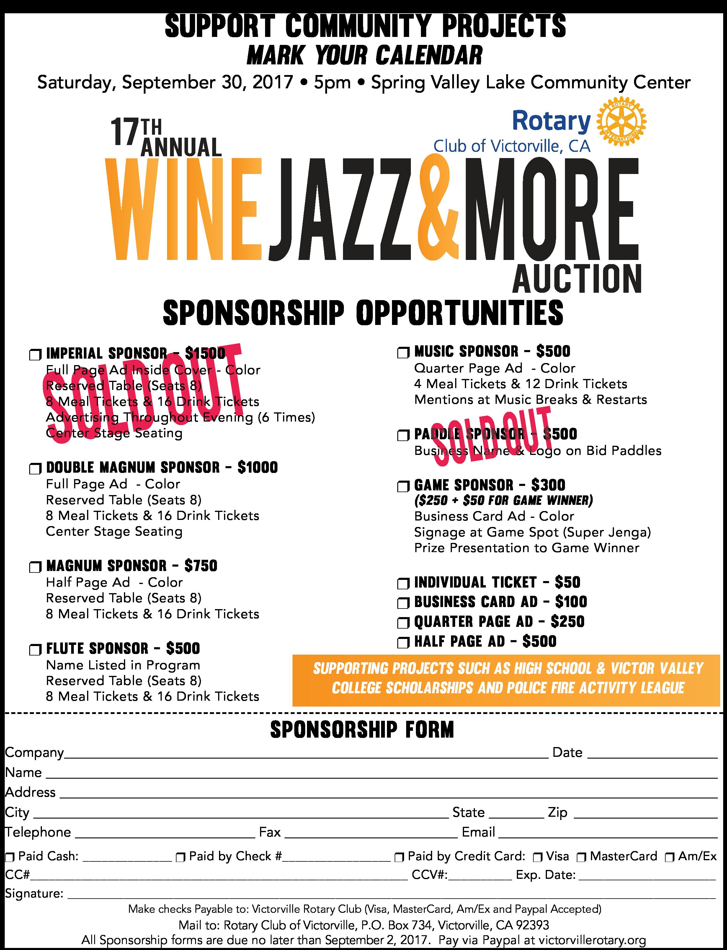 2017 Wine Jazz & More! Sponsorship Opportunities