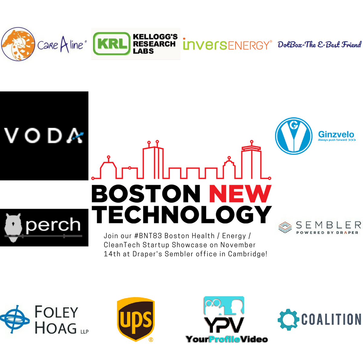 Join Boston New Technology's #BNT83 Startup Showcase