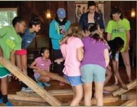 campers building a structure