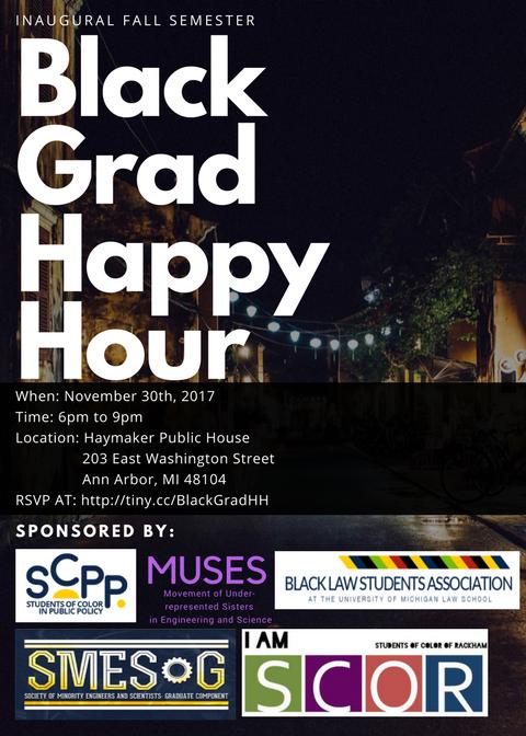Black Grad Happy Hour Flyer