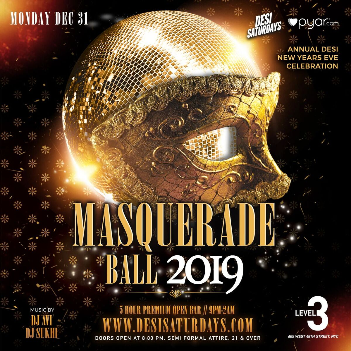 9600fbc4e3 Masquerade Ball 2019 Desi New Years Eve Celebration New York in ...
