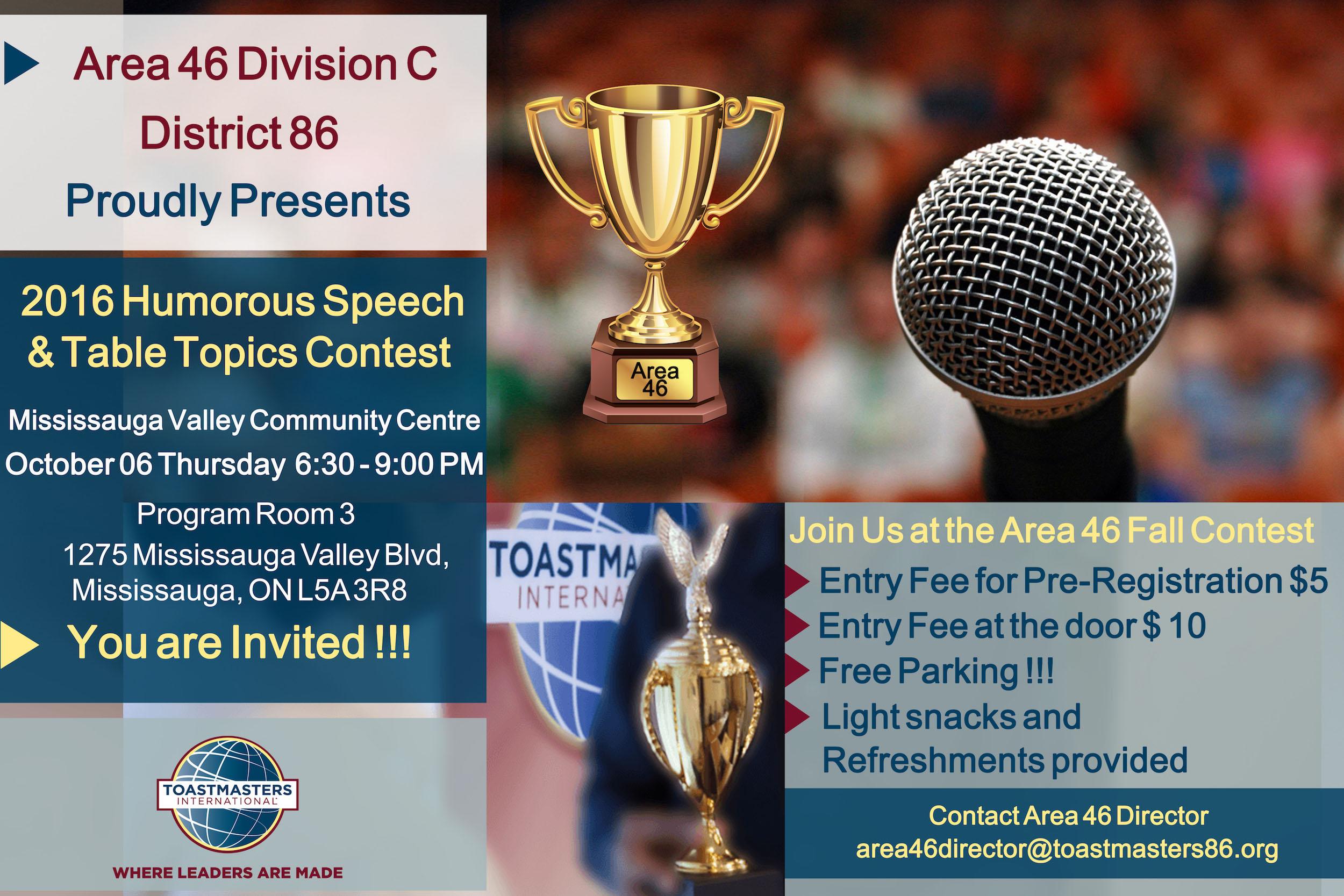 Area 46 Humorous Speech and Table Topics Contest