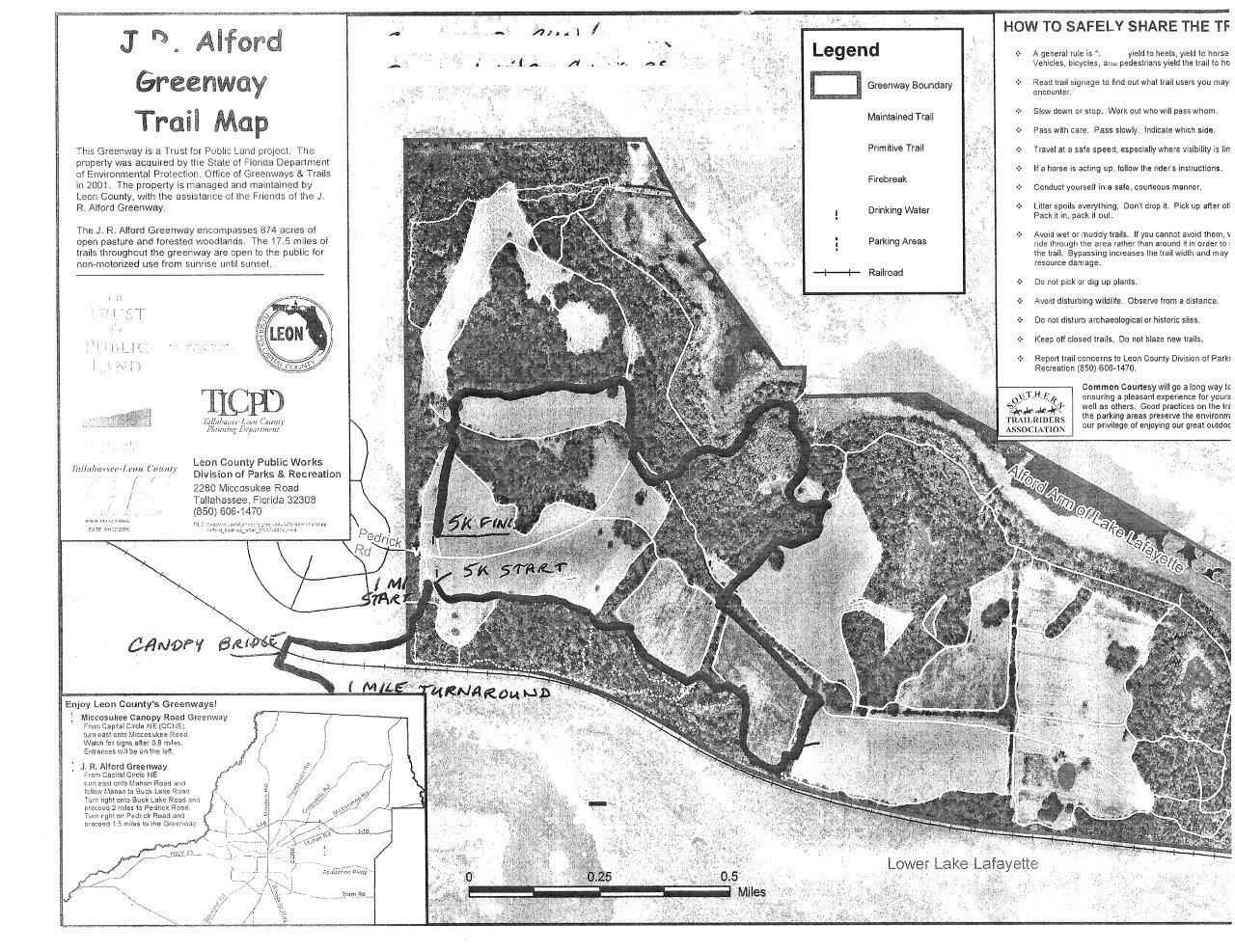 5K / 1M Run Map - J R Alford Greenway