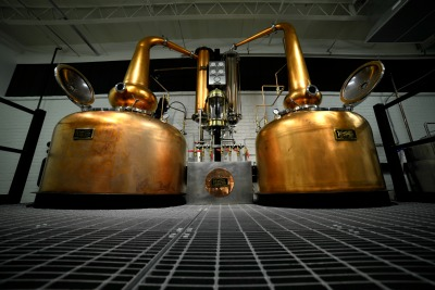 Our Scottish-style twin copper pot stills, by Vendome
