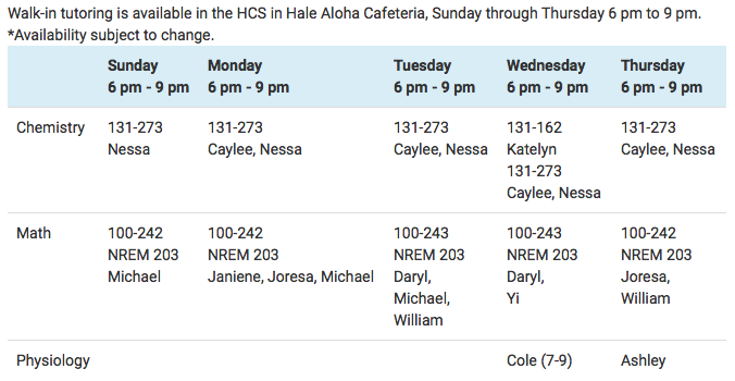 HSC Tutoring Schedule as of 8.30