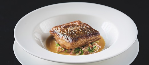 Hake with Betty Stogs and bacon