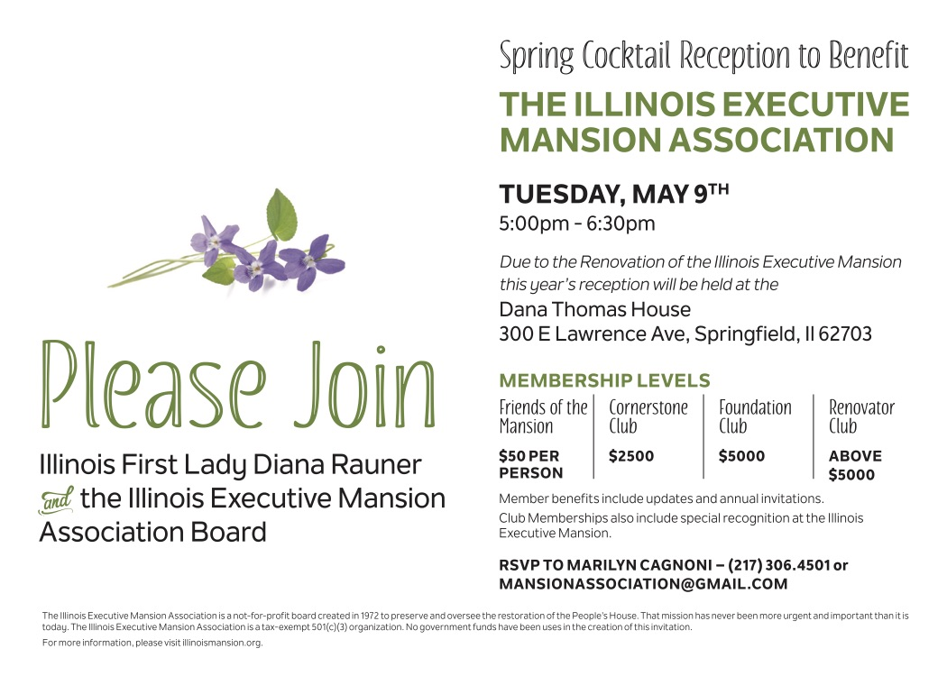 Invitation to a Spring Cocktail Reception Benefitting the Illinois Executive Mansion Association