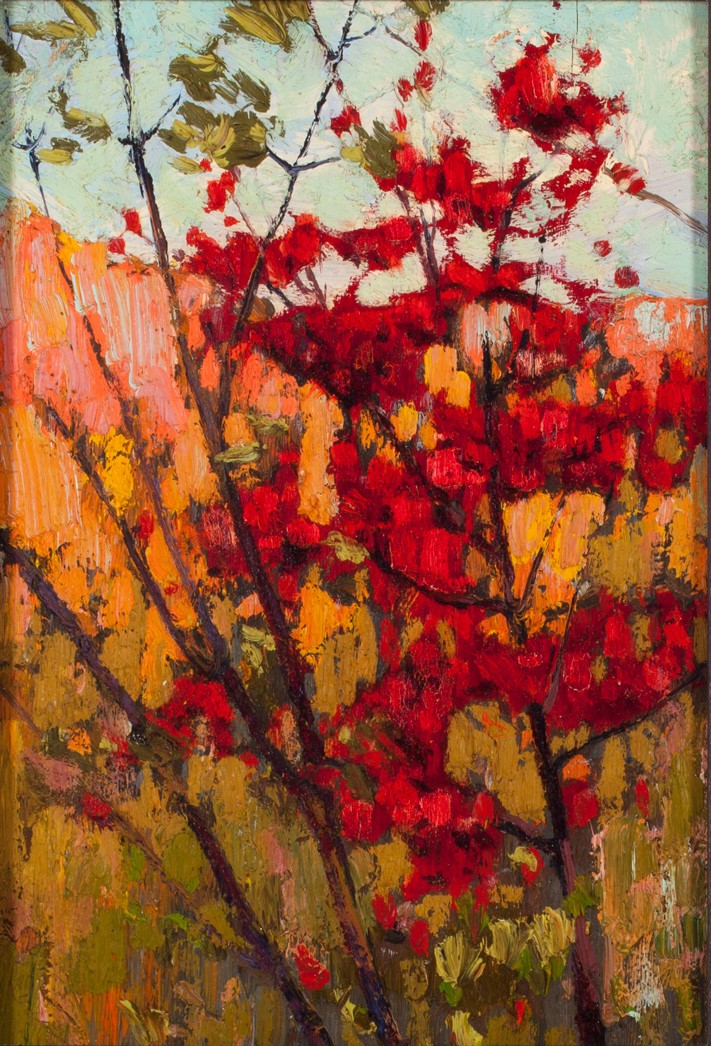 TOM THOMSON (CANADIAN 1877 – 1917) SOFT MAPLE IN AUTUMN  1914 OIL ON PLYWOOD 25.5 X 17.8 CM COLLECTION OF THE TOM THOMSON ART GALLERY, OWEN SOUND, ONTARIO, GIFT OF LOUISE (THOMSON) HENRY, SISTER OF TOM THOMSON, 1967 (PHOTO CREDIT: MICHELLE WILSON)