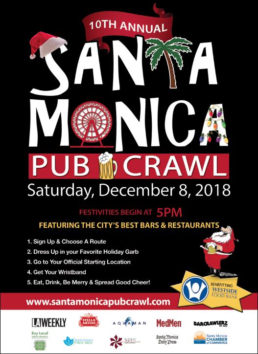 SANTA Monica Pub Crawl Flyer