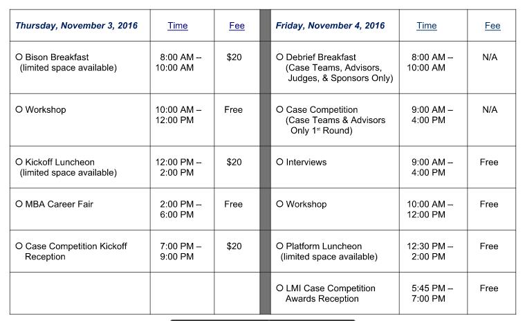 MBAX Schedule