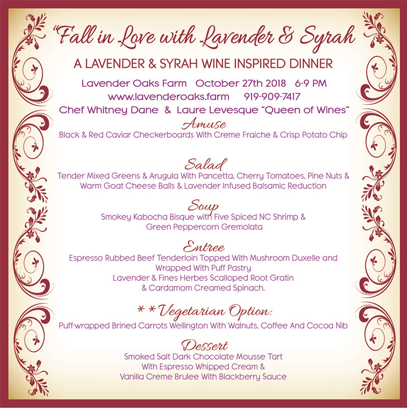 Fall in Love with Lavender Dinner Menu