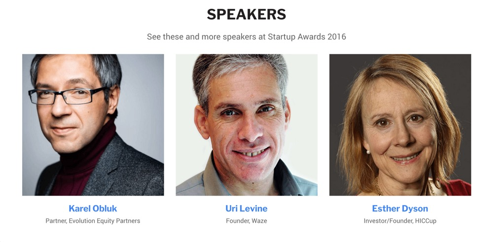 Startup Awards Speakers