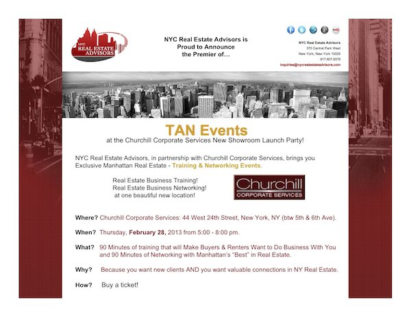 NYC Real Estate Advisors' TAN Events Premier at CHurchill Furniture