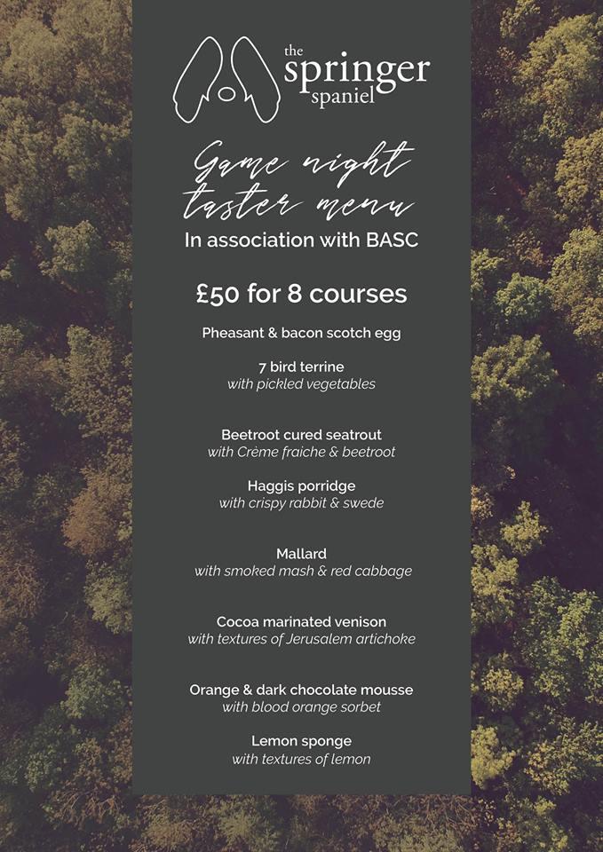 BASC game dinner menu