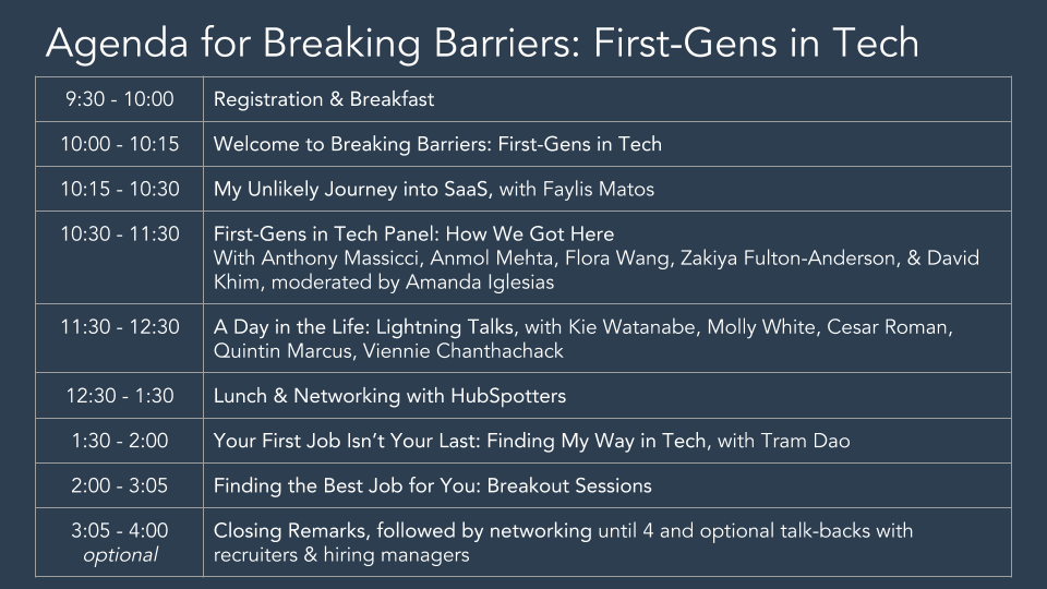 Schedule for first-gens in tech 2018
