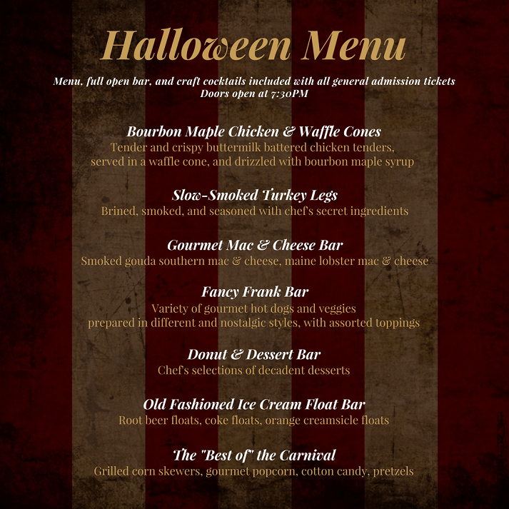 General Admission Menu Halloween