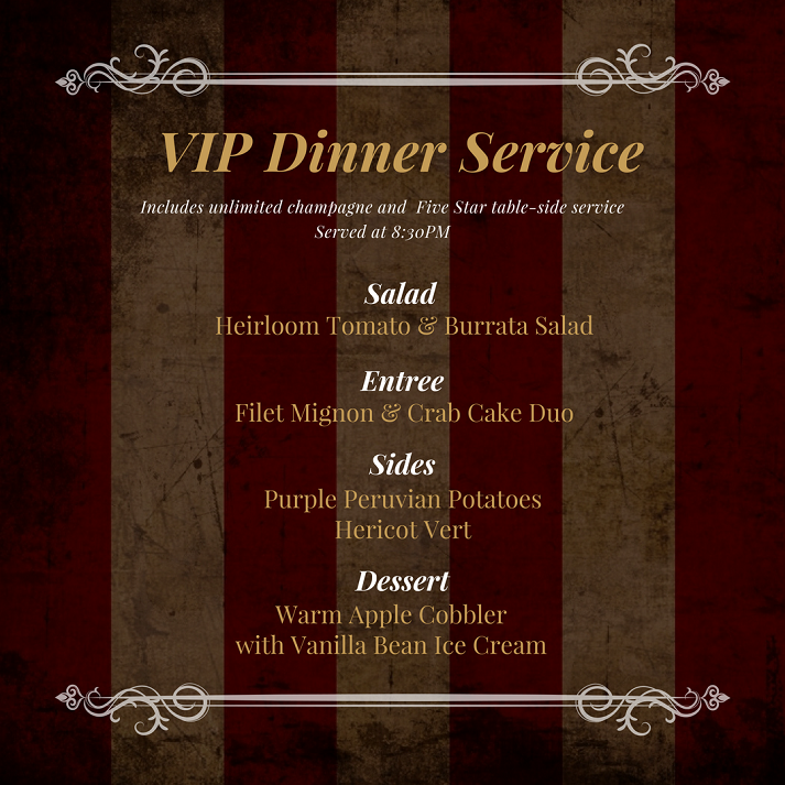 VIP Dinner Service Menu Halloween