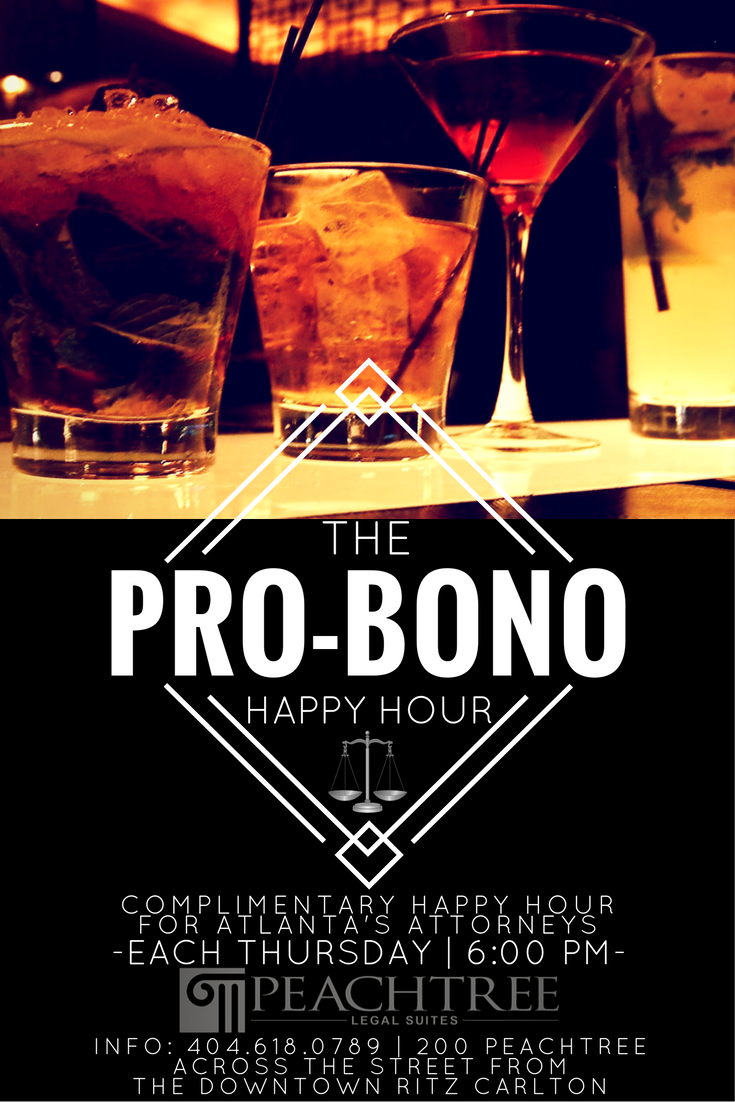 The pro bono happy hour hosted by the peachtree legal for The peachtree