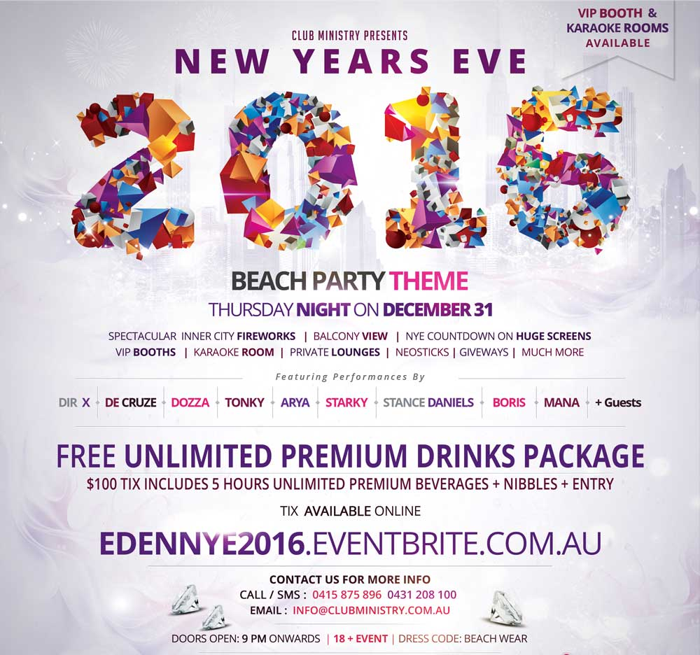 Nye 2016 Beach Party Flyer