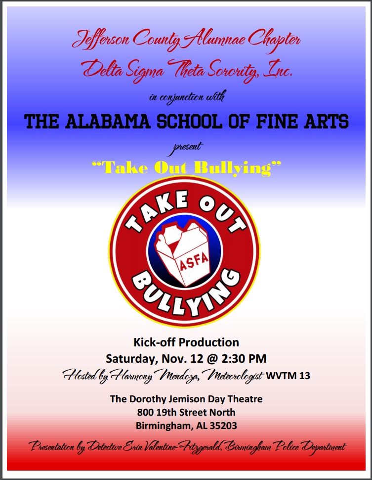 The Alabama School of Fine Arts Theatre Arts Ensemble uses humor and personal experience to showcase skits which confront teen bullying and other social issues related to teens head on. This presentation is performed by ASFA Theatre Arts Department students in grades 7-12 but deals with weighty issues like cyberbullying and teen suicide, so this performance is recommended for students in grades 6 and older. We hope to see you there!