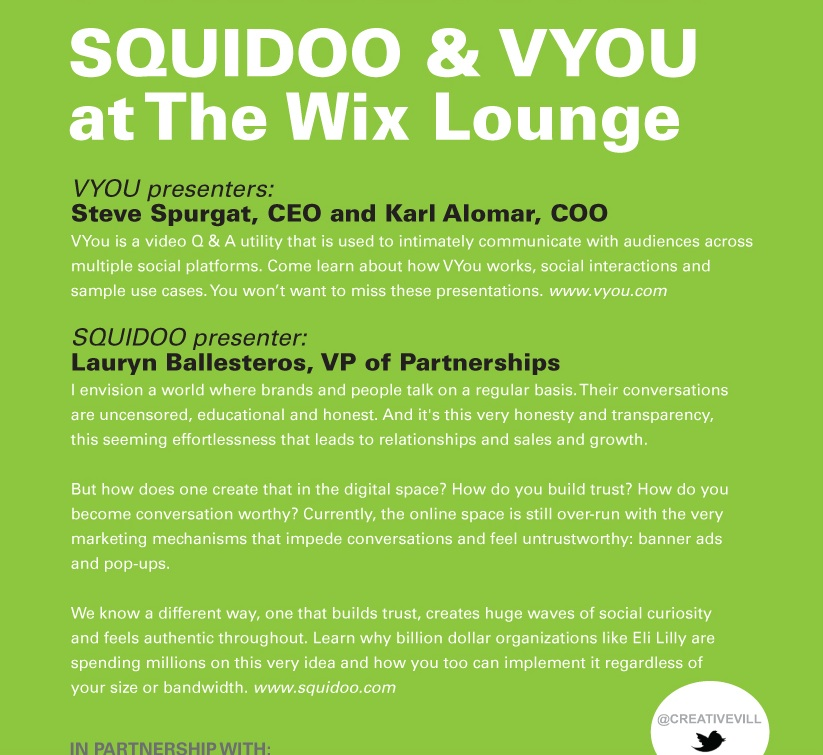 Creative Village, Squidoo & VYou at The Wix Louge