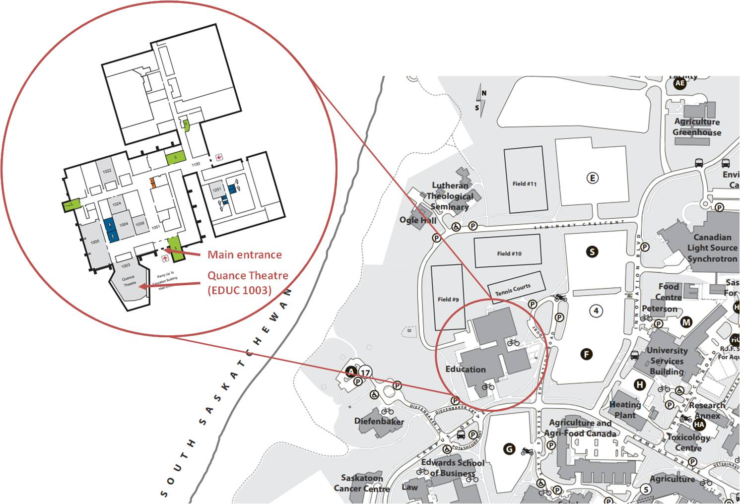 Map of Education Building at the U of S