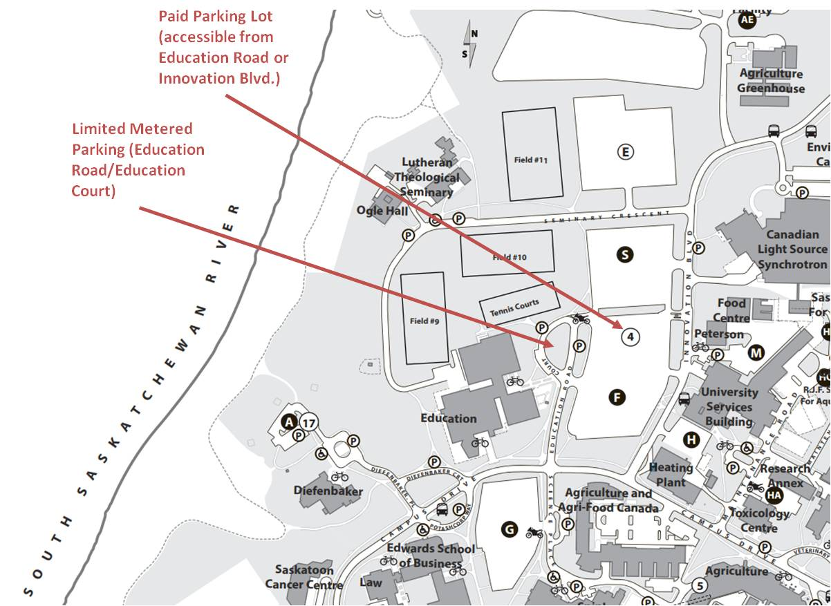 Map of parking near Education Building