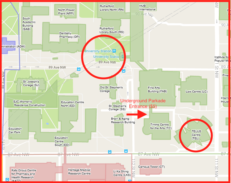 Telus Centre Map and Parking Location