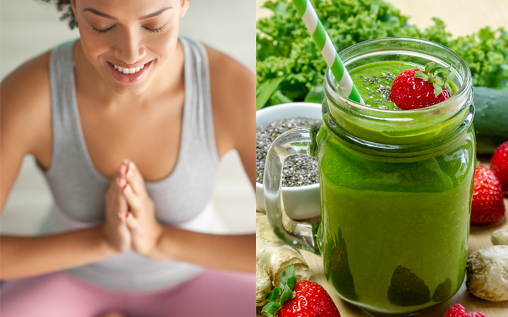 Woman In Yoga Pose and Healthy Detox Smoothie