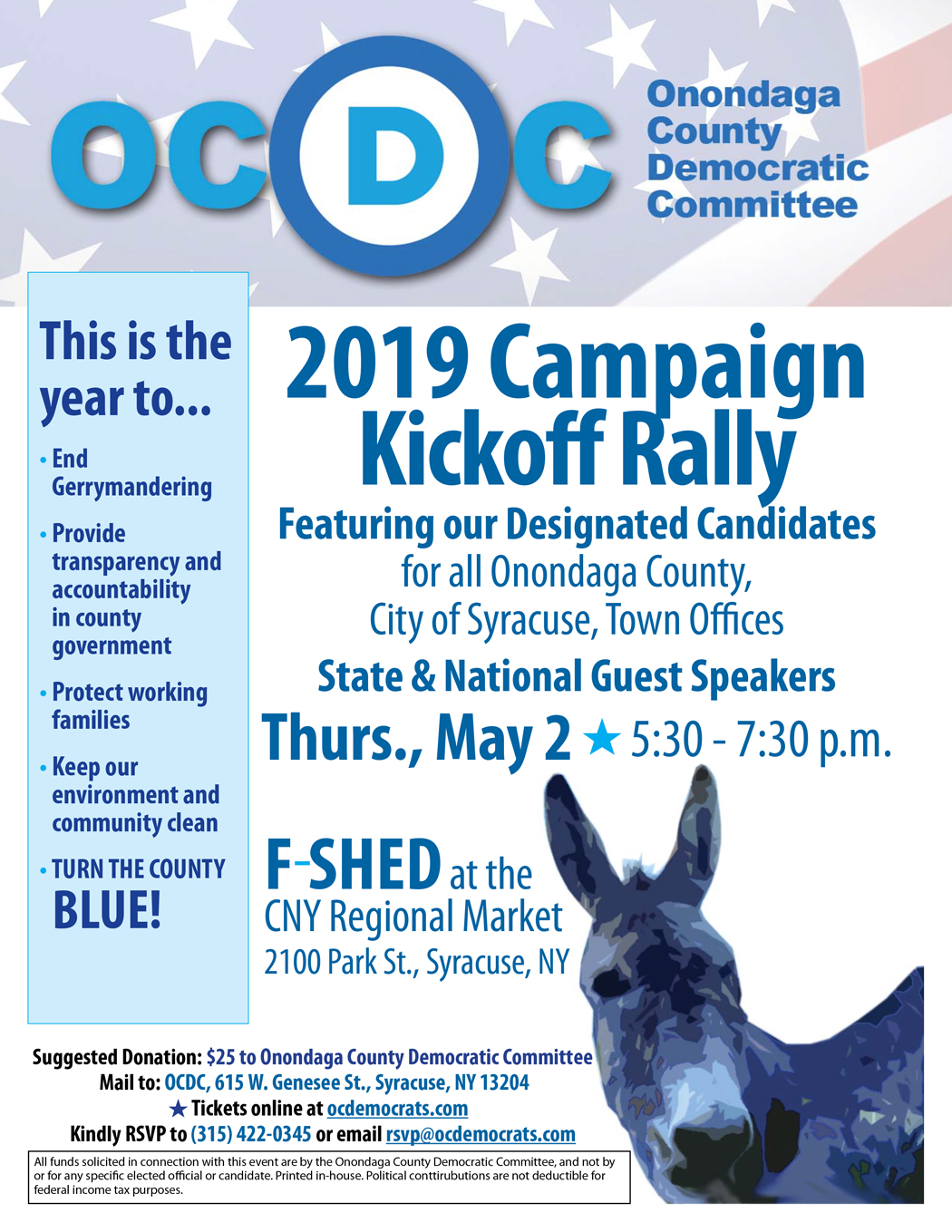 OCDC 2019 Campaign Kickoff Rally - F Shed at the Market - Thursday, May 2, 2019 - 5:30-7:30 p.m.