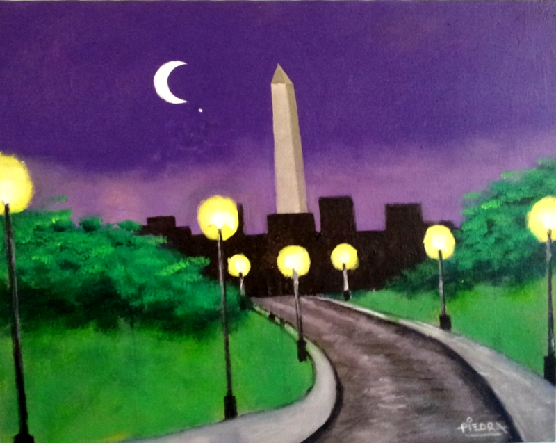 Painting of Washington monument and silhouette cityscape