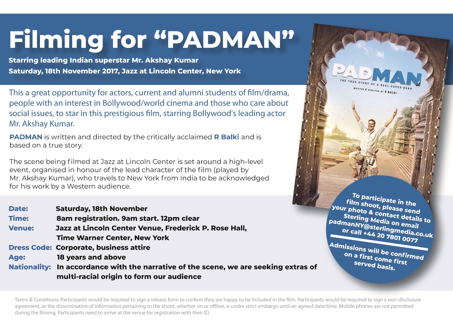 Padman Filming Opportunity