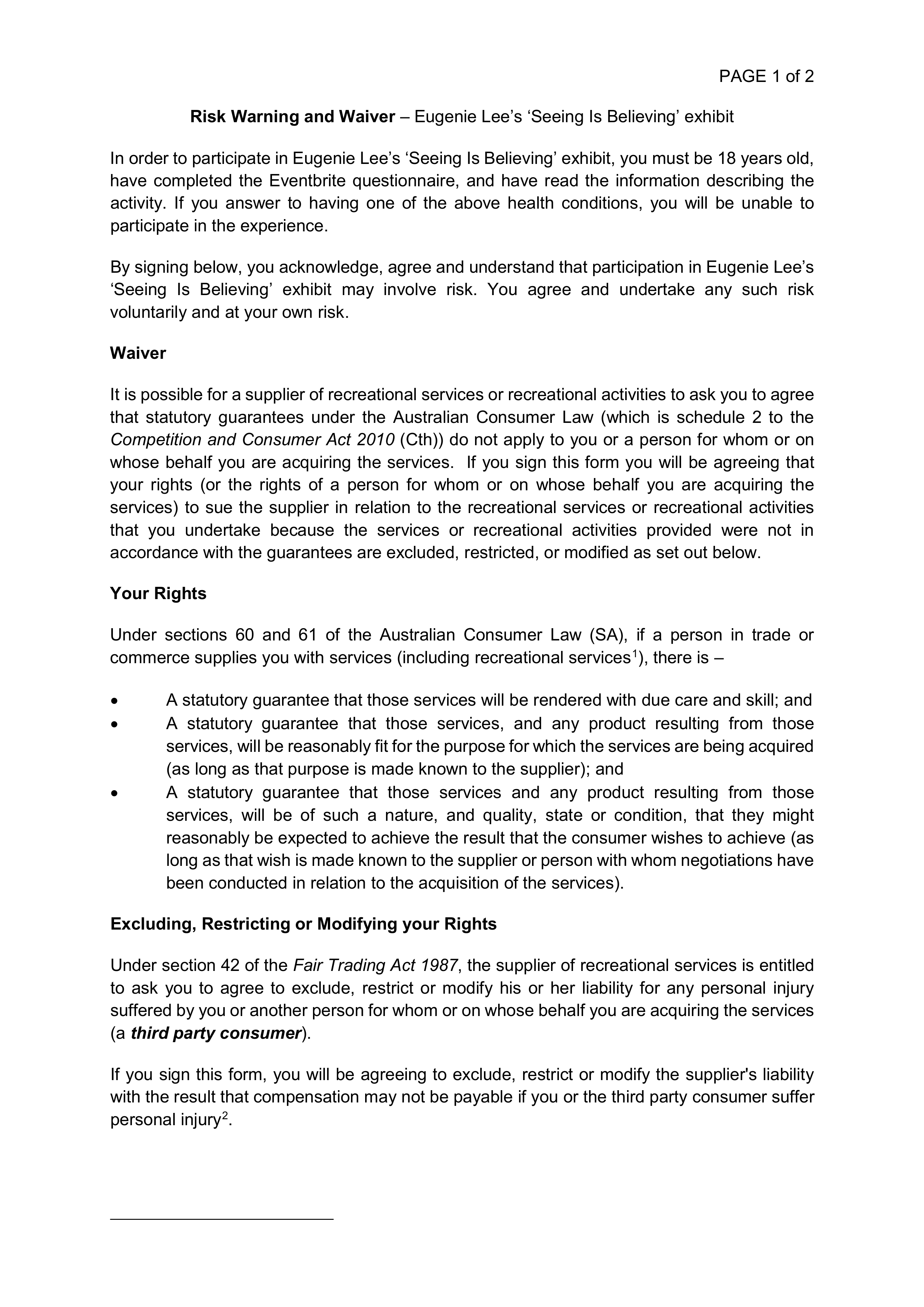 Consent and waiver page 1