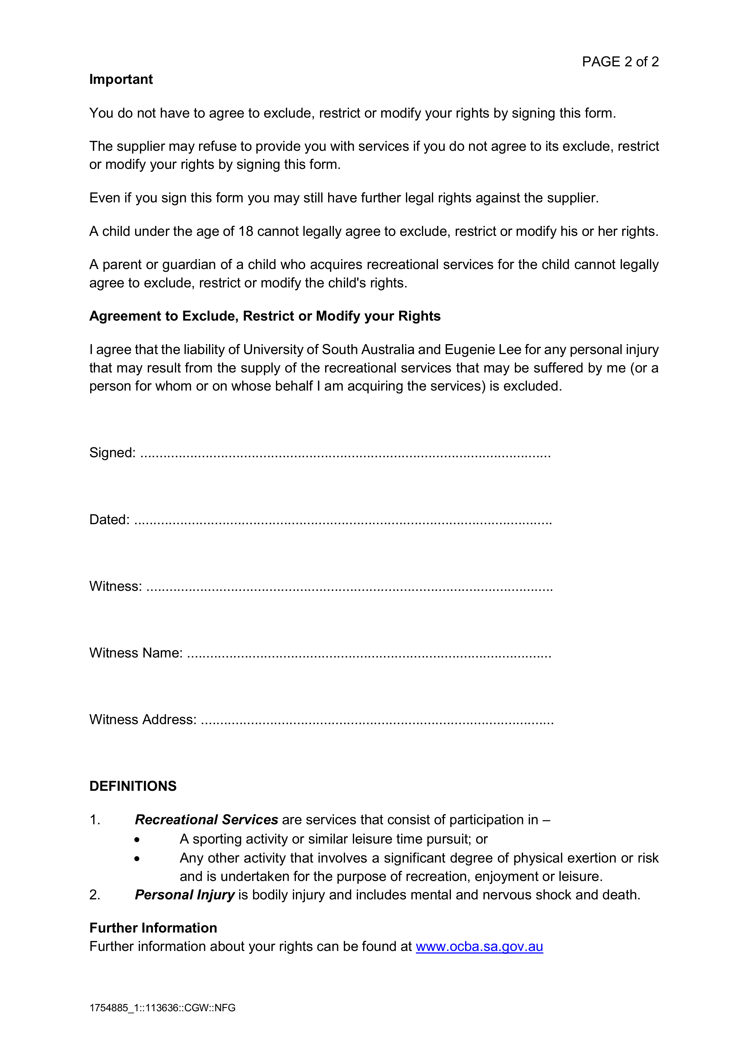 Consent and waiver page 2