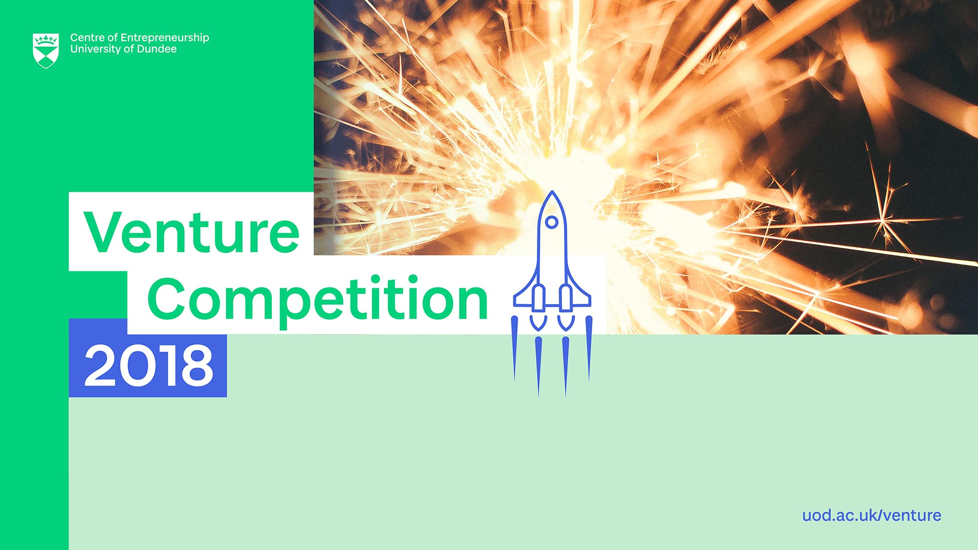 Venture 2018 logo green and white with link to find out more about the competition http://uod.ac.uk/venture