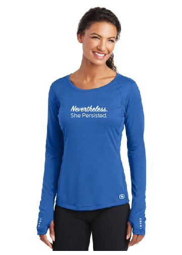 Nevertheless She Persisted White Text on Blue Shirt