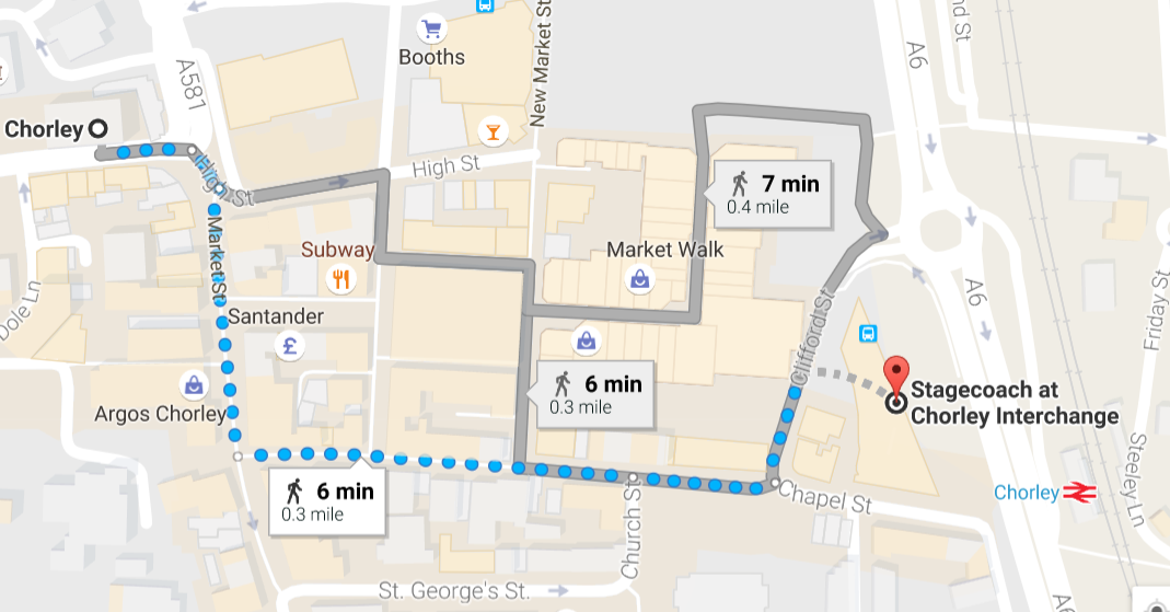 Bus Station to Town Hall Map